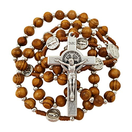 (Olive Wood Rosary Beads Catholic Necklace St Saint Benedict Medal Crucifix Jerusalem Cross Gift Box)