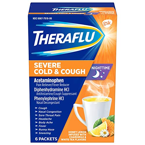 Theraflu Nighttime Severe Cold & Cough Honey Lemon Infused with Chamomile & White Tea Hot Liquid Powder for Cough & Cold Relief, 6 count (Remedy For Severe Sore Throat And Cough)