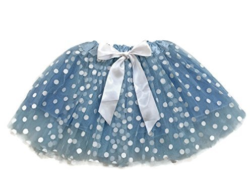 Rush Dance Ballerina Girls Dress-Up Princess Fairy Polka Dots & Ribbon Tutu (Kids (3-6 Years Old), Light Blue & White (Frozen))