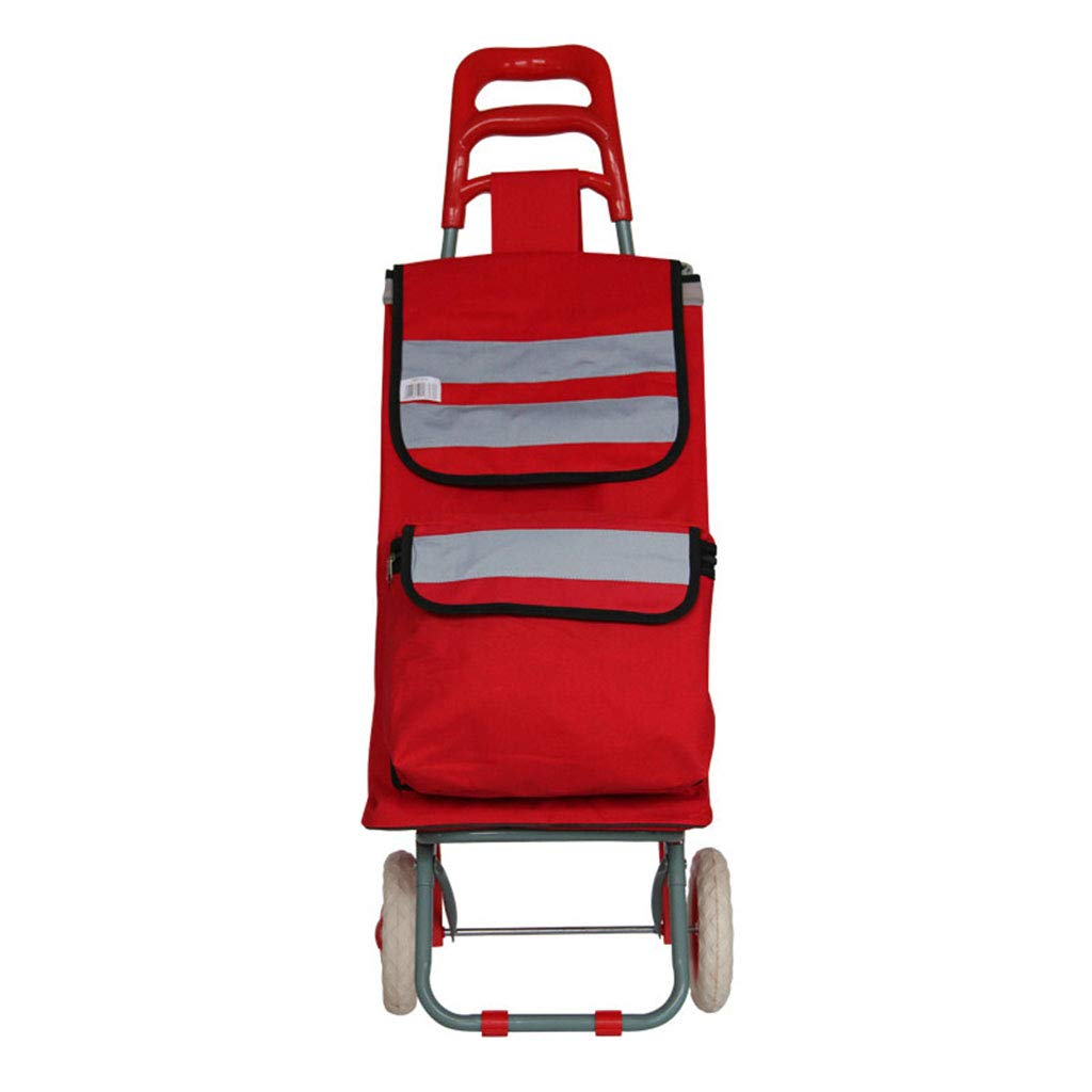 QING MEI ショッピングカート折りたたみ式、携帯用トロリー、2ラウンド、老人が食品カートを購入する、大容量、強い負荷容量 A+ (色 : Red) B07K48DH9Y Red