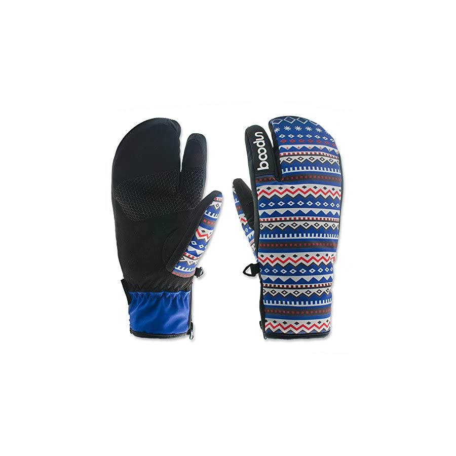 Women Touchscreen Waterproof 3 Fingers Trigger Mittens for Skiing Snowboarding