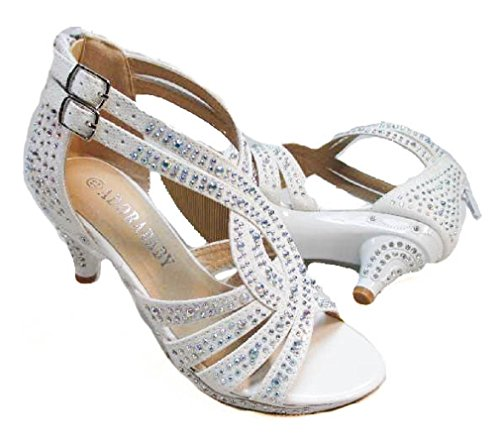 Adorababy Girls Dress Shoes Rhinestone Pageant Heels White 11