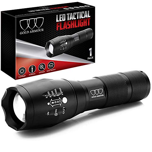 Super Bright LED Tactical Flashlight - High Lumen, Zoomable, 5 Modes, Waterproof Water Resistant, Handheld Light - Best Camping, Outdoor, Emergency, Hurricane, Everyday Flashlights -