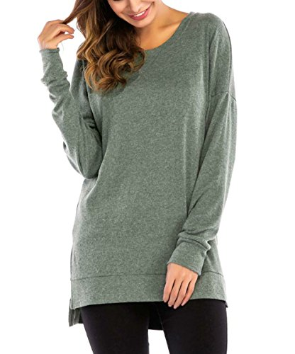 PALINDA Women's Long Sleeve Crewneck Casual Side Split Loose Pullover Tunic Tops (M, Green)