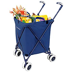 Folding Shopping Cart - VersaCart Transit Utility Cart - Transport Up to 120 Pounds (Water-Resistant Heavy Duty Canvas), Navy Blue