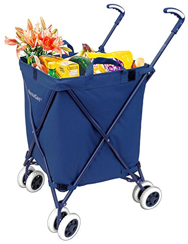 Folding Shopping Cart - VersaCart Transit Utility Cart - Transport Up to 120 Pounds (Water-Resistant Heavy Duty Canvas), Navy Blue by Versacart
