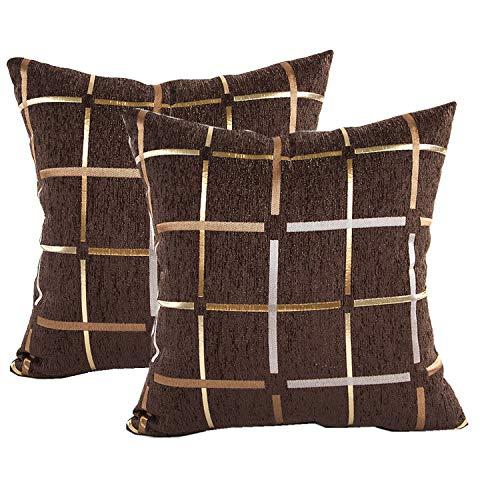 QCTIANXIA Plaid Throw Pillow Covers Chenille Decorative Pillow Case Home Sofa Cushion Set,Decoration Throw Pillow Cavers,Pillow Covers (Brown, 18x18) (Sofa Brown Chenille)