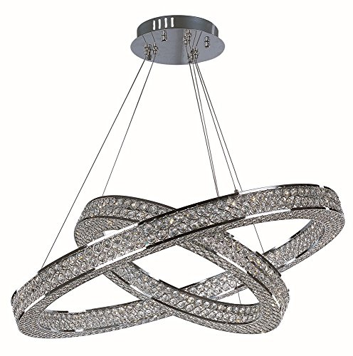 1 Light Eternity Pendant - Maxim 39777BCPC Eternity LED 2 Tier Pendant Single Pendant, Polished Chrome Finish, Beveled Crystal Glass, PCB LED Bulb , 4W Max., Dry Safety Rating, 2700K Color Temp, Standard Dimmable, Shade Material, Rated Lumens