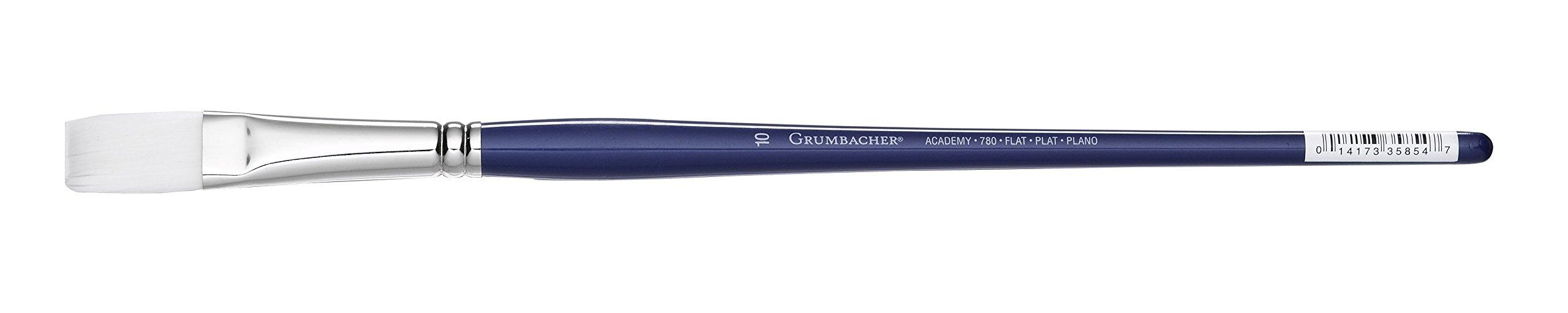 Grumbacher Academy Oil and Acrylic Flat Brush, White Nylon Bristles, Size 10 (780F.10)