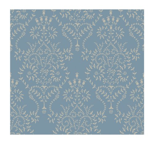 York Wallcoverings Damask Resource BD9172 Delicate Leaf Scroll Wallpaper, Blue/Gold