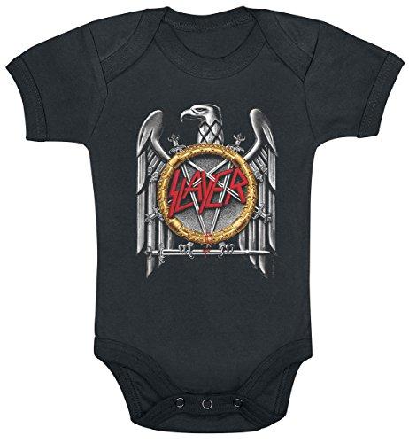 Littlerockstore Unisex Baby Slayer Onesie Metal Silver Eagle 3 - 6 Months Black ()
