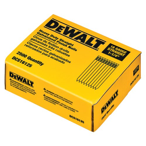 DEWALT DCS16125 1-1/4-Inch by 16 Gauge Finish Nail (2,500 per Box)