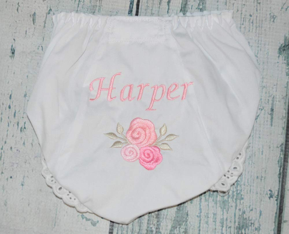 Pink and Brown Personalized Nsme Inital Disper Cover Bloomers with Bows Newborn Infant Toddler Girls Baby Bloomers