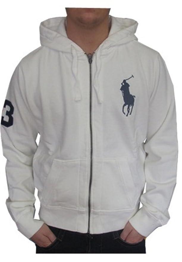 27ed28f076a988 Ralph Lauren Big Pony Zip Herren Pullover   Kapuzenjacke   Jacke   Hoodie  weiß Größe  S  Amazon.de  Bekleidung