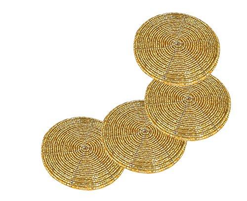 - Prisha India Craft Handmade Golden Beaded Tea Coasters Diameter 4