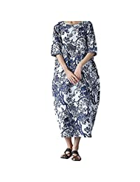 HEFEITONG Women Loose Printing Round Neck Cotton Long Dress Large Size