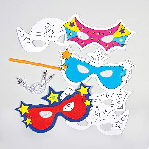 - Baker Ross Super Hero Color-in Card Masks 3 Assorted Designs for Children to Paint & Decorate and use for Dress Up (Pack of 6) - Carnival/Mardi Gras Party Accessory