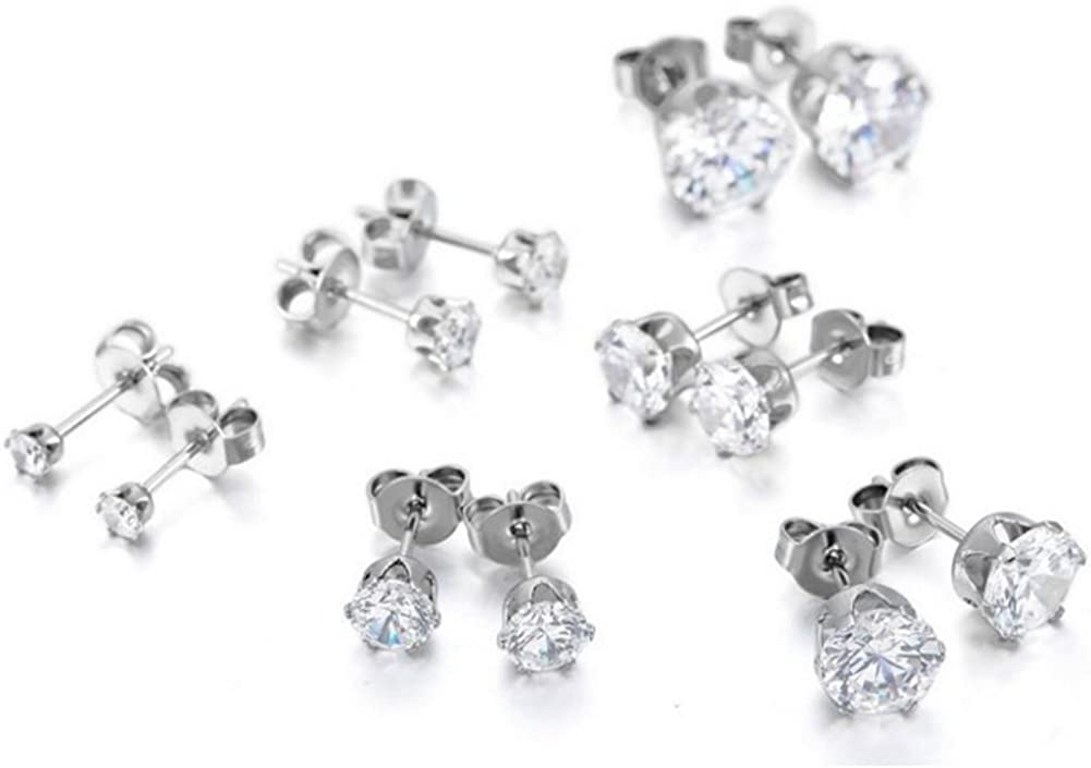 GORGEOUS LARGE 8MM CLEAR CZ SILVER PLATED ROUND EARRINGS MENS WOMENS STUDS