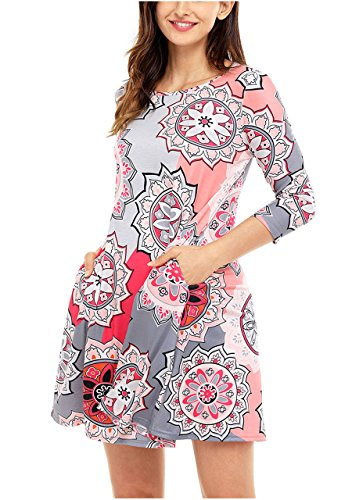 Ayliss Womens 3/4 Sleeve Long Sleeve Floral Print Side Pocket A-Line Tunic Dress