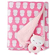 Just One You by Carter's Baby Girls' Owls Soft Plush Blanket with Rattle, Pink