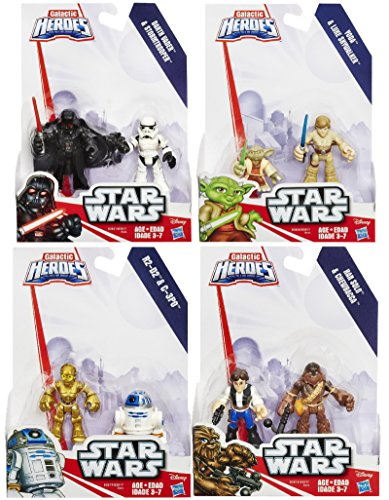 Playskool Heroes Star Wars Galactic Heroes 4 Pack Set including Yoda, Luke, R2D2, C3P0, Chewbacca, Han Solo, Darth Vader, and Stormtrooper