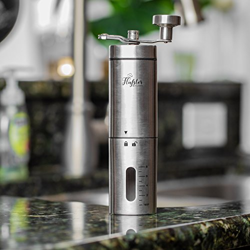 Flafster Kitchen Manual Coffee Grinder- Hand Coffee Bean Grinder With Ceramic Mechanism- Portable Stainless Steel Burr Coffee Mill With Foldable Stainless Steel Handle - Ergonomic Design - Accessories by Flafster Kitchen (Image #8)