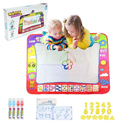Water Drawing Mat,Large Size 31.5 x 23.62 Inch 4 Colors Magic Water Doodle Mat with 4 Pens Templates Kids Educational Learning Toys for Boys Girls