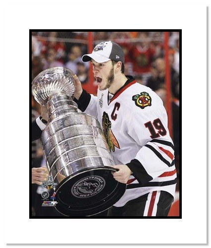 Jonathan Toews Chicago Blackhawks NHL Double Matted 8x10 Photograph with 2010 Stanley Cup Trophy