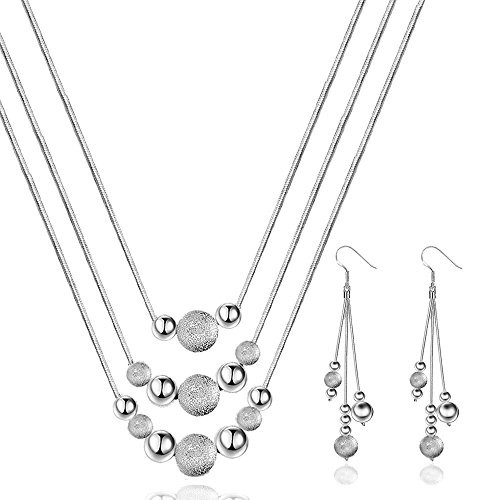 ion Silver Plated Beads Earring Necklace Set Pretty Present (Sonic Bearing Spacer)