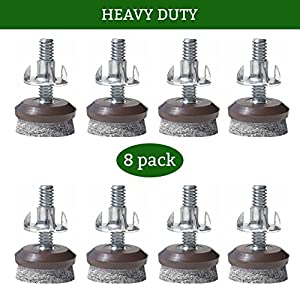 Furniture Levelers  Adjustable Felt Bottomed Pads For Table, Chair, And Furniture  Legs Pack Of 8 With Durable Metal T Nut Heavy Duty Threaded Furniture ...