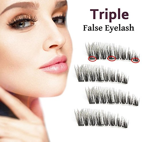 Triple Magnetic False Eyelashes - No Glue Mess-Free Reusable - Best Fake Lashes Extensions - Beautiful Natural Enhanced Eyes, Volumized Lashes (2 Pair, 4 Pcs)