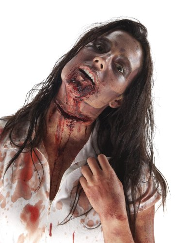 The Walking Dead Slit Throat Latex Mask, Standard color, One Size
