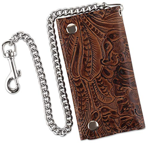 RFID Blocking Men's Tri-fold Vintage Biker Cowhide Top Grain Leather Steel Chain Wallet,Snap closure, Made In USA,Cf339,brown floral ()