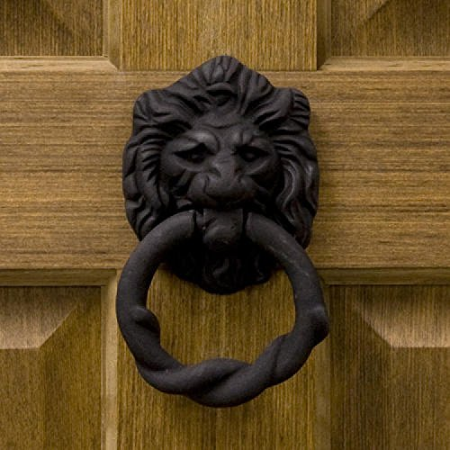 (Casa Hardware Lion Head Iron Door Knocker in Black Powder Coat Finish)