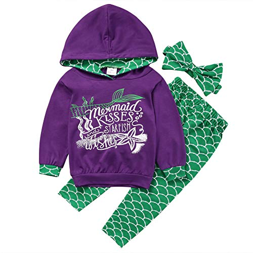 Gogoboi 3pcs Mermaid Outfit Set Long Sleeve Hoodie Top+Pants+Headband Suit for Baby Girl 1-6T (Purple, 4-5T)