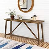narrow console table Tribesigns 59 Inches Extra Long Rustic Console Table, Solid Wood Entry Table, Sofa Table for Living Room, Entryway & Balcony, Brown