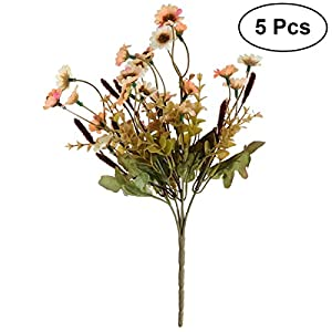 Toyvian 5pcs Artificial Daisy Flowers Bouquet Plant Bundle for Home Office Garden Patio Decoration (Orange) 50