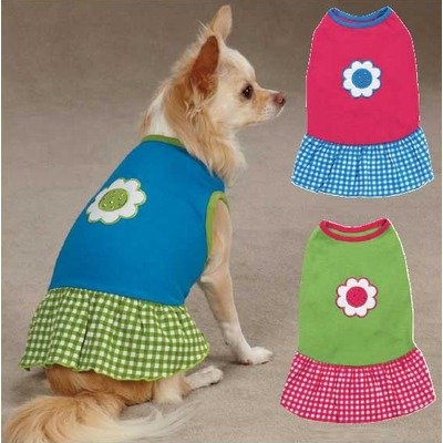 ZM1101 08 19 Gingham Sweeties Dress for Dogs, XX-Small Blue (Pink Gingham Dog Dress)