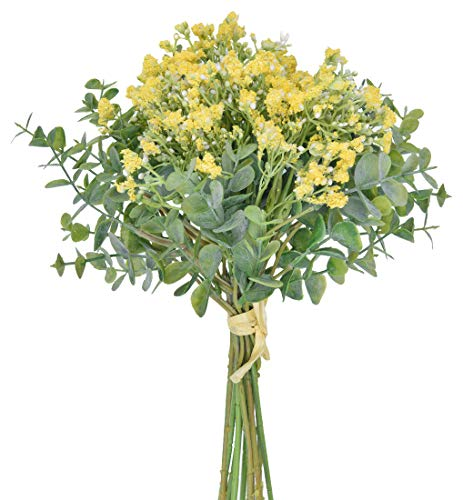 Anna Homey Decor Fake Flowers Pack of 1 Flower Bouquets,Total of 6 Baby Breath Flowers and 6 Silver Dollar Eucalyptus Artificial Flowers for Home Office Indoor Outdoor Wedding Aisle Decoration(Yellow)