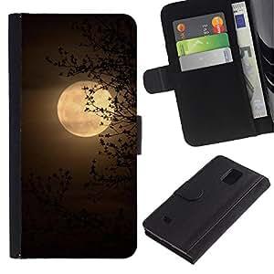 Planetar® Modelo colorido cuero carpeta tirón caso cubierta piel Holster Funda protección Para Samsung Galaxy Note 4 IV / SM-N910 ( Amarillo Sabana África Noche)