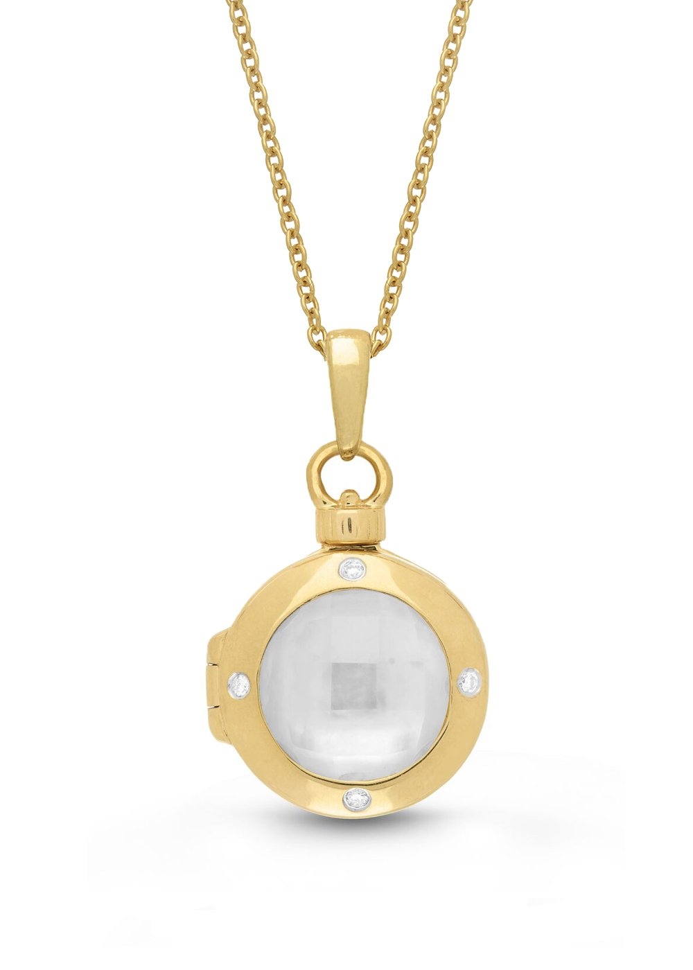 Yellow Gold-Diamond-MOP-Custom Photo Locket Necklace-22-inch chain-The Shelly by With You Lockets