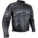 Xelement B95010 Mens Reflective Evil Triple Flaming Skulls Cruiser Armored Moto - X-Large