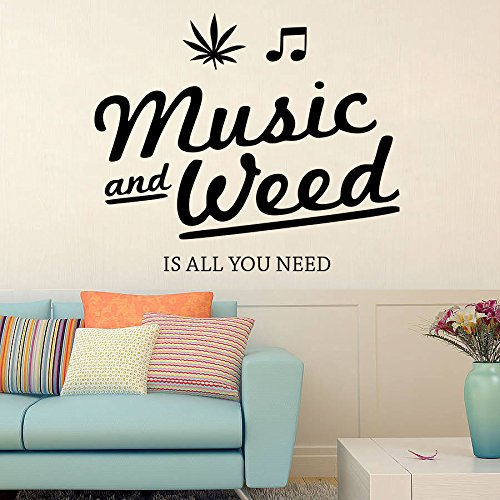 DreamKraft Music and Weed Removable Wall Decor Art Stickers Vinyl Decals Home Decor for Living Room & Kids Bedroom(25X21 inch) HS0468L