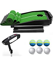 Golf Putting Green Mat, with Auto Ball Return System, Adjustable Slope, for Indoor and Outdoor, with Six Balls and One Putter, Golf Putting Training Aids for Home Office