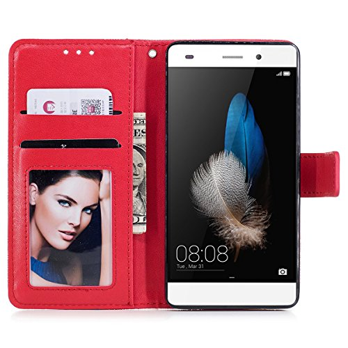 Funda Huawei P8 Lite 2016, WE LOVE CASE Piel y Tipo Cartera Carcasa Funda Flor Huawei P8 Lite 2016 con Tapa Flip Wallet caso de Cuero Billetera Original Funda Que Se Pega con Ranura Para Tarjeta Card  Red