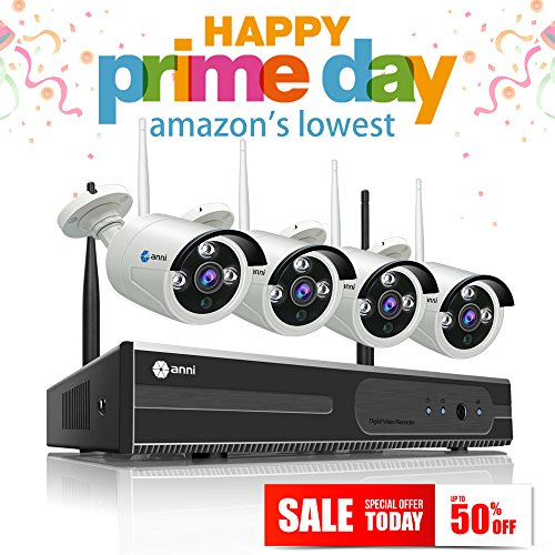 anni Full 1080P HD Wi-Fi Wireless Security Camera System 4CH 1080P HDMI NVRand (4) HD 2.0MP 1080P Indoor/Outdoor Ip Cameras,100ft Night Vision, Motion (100' Night Vision)