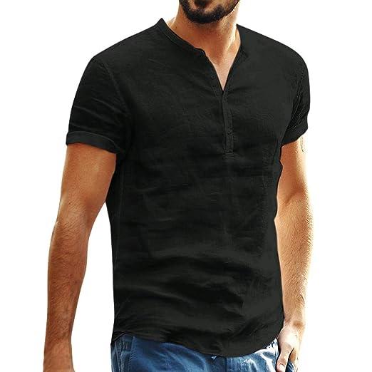 b6049dca Amazon.com: Mens Cotton Linen Pure t Shirts,Donci Fashion Comfort ...