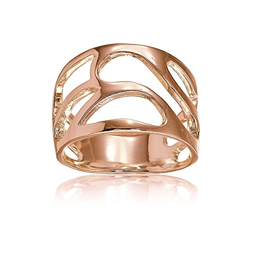 (Rose Gold Flashed Sterling Silver Filigree Freeform Band Ring, Size 9)