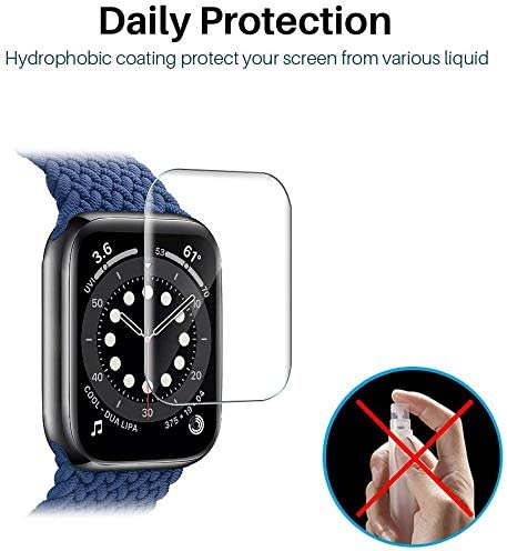 6 PACK LϞK SCREEN PROTECTOR COMPATIBLE FOR APPLE WATCH SE & SERIES 6 40MM, MAX COVERAGE BUBBLE-FREE FLEXIBLE TPU CLEAR FILM WITH CIRCLE INSTALLATION TOOL