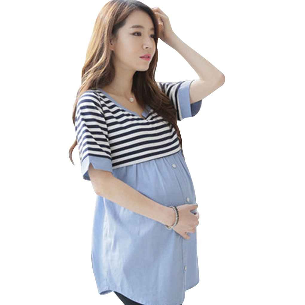 Arichtop Blouses d'allaitement alimentation chemise de grossesse Tops de grossesse Chemises d'allaitement Vêtements de maternité pour les femmes enceintes